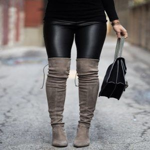 Grey Faux Suede Over The Knee Sock Boots 7.5